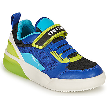 Shoes Boy Low top trainers Geox J GRAYJAY BOY D Blue / Lime