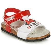 Shoes Girl Sandals Geox SANDAL CHALKI GIRL Red / White