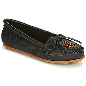 Shoes Women Loafers Minnetonka DEERSKIN BEADED MOC Black