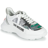Shoes Women Low top trainers Love Moschino JA15306G1C Silver / Green