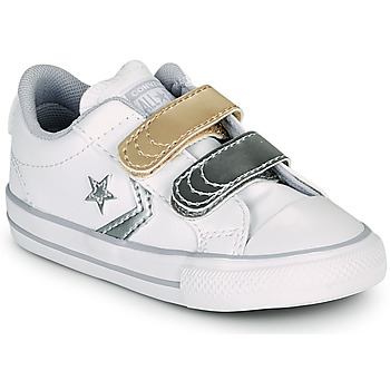 Shoes Girl Low top trainers Converse STAR PLAYER 2V METALLIC LEATHER OX White
