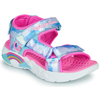 Shoes Girl Sports sandals Skechers RAINBOW RACER Silver / Pink