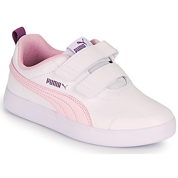 Shoes Girl Low top trainers Puma COURTFLEX PS White / Pink