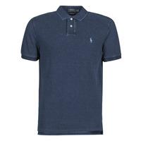 material Men short-sleeved polo shirts Polo Ralph Lauren POLO AJUSTE DROIT EN COTON BASIC MESH LOGO PONY PLAYER Blue / Dark / Indigo