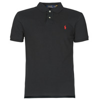 material Men short-sleeved polo shirts Polo Ralph Lauren POLO CINTRE SLIM FIT EN COTON BASIC MESH LOGO PONY PLAYER Black