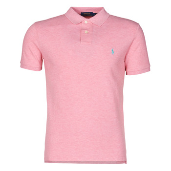 material Men short-sleeved polo shirts Polo Ralph Lauren POLO CINTRE SLIM FIT EN COTON BASIC MESH LOGO PONY PLAYER Pink / Heather