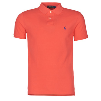 material Men short-sleeved polo shirts Polo Ralph Lauren POLO CINTRE SLIM FIT EN COTON BASIC MESH LOGO PONY PLAYER Red / Racing