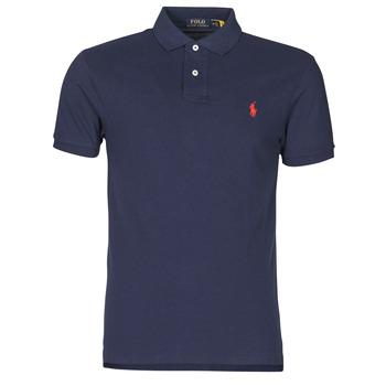material Men short-sleeved polo shirts Polo Ralph Lauren POLO CINTRE SLIM FIT EN COTON BASIC MESH LOGO PONY PLAYER Marine