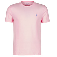 material Men short-sleeved t-shirts Polo Ralph Lauren T-SHIRT AJUSTE COL ROND EN COTON LOGO PONY PLAYER Pink / Carmel