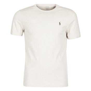 material Men short-sleeved t-shirts Polo Ralph Lauren T-SHIRT AJUSTE COL ROND EN COTON LOGO PONY PLAYER Beige
