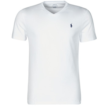 material Men short-sleeved t-shirts Polo Ralph Lauren T-SHIRT AJUSTE COL V EN COTON LOGO PONY PLAYER White