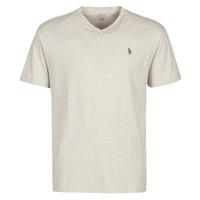 material Men short-sleeved t-shirts Polo Ralph Lauren T-SHIRT AJUSTE COL V EN COTON LOGO PONY PLAYER Beige
