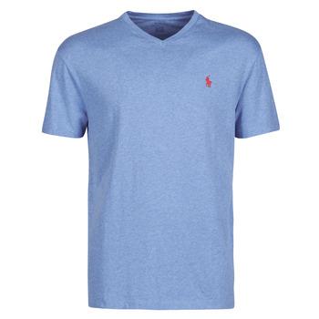 material Men short-sleeved t-shirts Polo Ralph Lauren T-SHIRT AJUSTE COL V EN COTON LOGO PONY PLAYER Blue