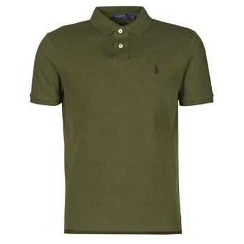 material Men short-sleeved polo shirts Polo Ralph Lauren POLO AJUSTE DROIT EN COTON BASIC MESH LOGO PONY PLAYER Kaki