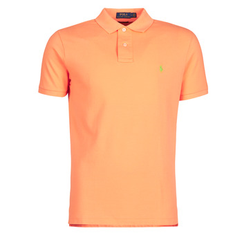 material Men short-sleeved polo shirts Polo Ralph Lauren POLO AJUSTE DROIT EN COTON BASIC MESH LOGO PONY PLAYER Orange
