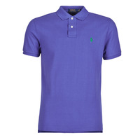 material Men short-sleeved polo shirts Polo Ralph Lauren POLO AJUSTE DROIT EN COTON BASIC MESH LOGO PONY PLAYER Blue