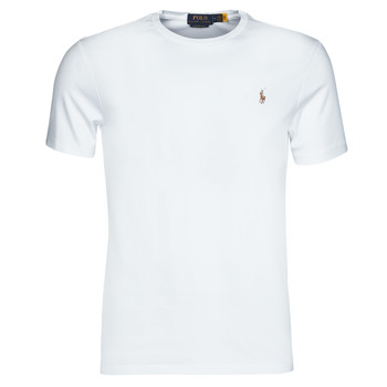 material Men short-sleeved t-shirts Polo Ralph Lauren T-SHIRT AJUSTE COL ROND EN PIMA COTON LOGO PONY PLAYER MULTICOLO White