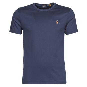 material Men short-sleeved t-shirts Polo Ralph Lauren T-SHIRT AJUSTE COL ROND EN PIMA COTON LOGO PONY PLAYER MULTICOLO Blue