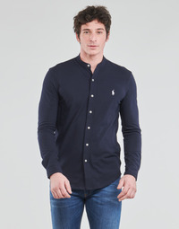 material Men long-sleeved shirts Polo Ralph Lauren CHEMISE AJUSTEE COL MAO EN POLO FEATHERWEIGHT LOGO PONY PLAYER Marine