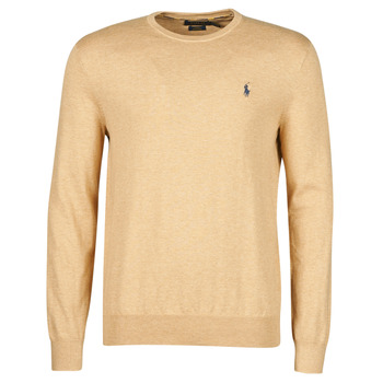 material Men jumpers Polo Ralph Lauren PULL COL ROND AJUSTE EN COTON PIMA LOGO PONY PLAYER Camel