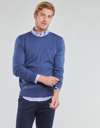 material Men jumpers Polo Ralph Lauren PULL COL ROND AJUSTE EN COTON PIMA LOGO PONY PLAYER Blue / Blue / Heather