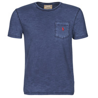 material Men short-sleeved t-shirts Polo Ralph Lauren T-SHIRT AJUSTE COL ROND EN COTON LOGO PONY PLAYER Blue