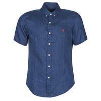 material Men short-sleeved shirts Polo Ralph Lauren CHEMISE CINTREE EN LIN COL BOUTONNE LOGO PONY PLAYER Blue