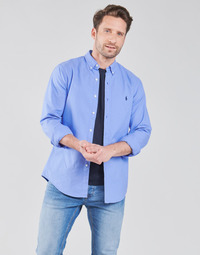 material Men long-sleeved shirts Polo Ralph Lauren CHEMISE CINTREE SLIM FIT EN OXFORD LEGER TYPE CHINO COL BOUTONNE Blue