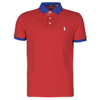 material Men short-sleeved polo shirts Polo Ralph Lauren POLO AJUSTE DROIT AVEC DETAILS DE COL ET DETAILS MANCHES EN COTO Red