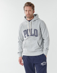 material Men sweaters Polo Ralph Lauren SWEATSHIRT CAPUCHE INSCIRPTION POLO ET PONY PLAYER SUR LA MANCHE Grey