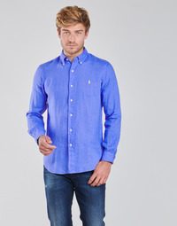 material Men long-sleeved shirts Polo Ralph Lauren CHEMISE AJUSTEE EN LIN COL BOUTONNE  LOGO PONY PLAYER Blue
