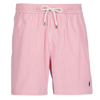 material Men Trunks / Swim shorts Polo Ralph Lauren MAILLOT SHORT DE BAIN RAYE SEERSUCKER CORDON DE SERRAGE ET POCHE Red / White
