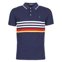 material Men short-sleeved polo shirts Polo Ralph Lauren POLO AJUSTE DROIT RAYE AVEC DETAILS DE COL ET DETAILS MANCHES EN Marine