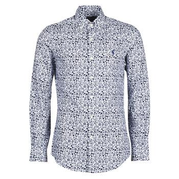 material Men long-sleeved shirts Polo Ralph Lauren CHEMISE CINTREE SLIM FIT EN POPLINE DE COTON COL BOUTONNE LOGO P Blue