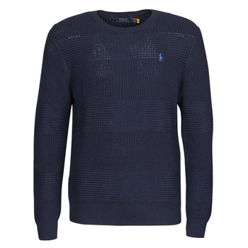 material Men jumpers Polo Ralph Lauren PULL COL ROND EN COTON TEXTURE LOGO PONY PLAYER Blue