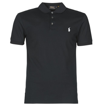 material Men short-sleeved polo shirts Polo Ralph Lauren POLO CINTRE SLIM FIT EN COTON STRETCH MESH LOGO PONY PLAYER Black