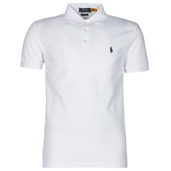 material Men short-sleeved polo shirts Polo Ralph Lauren POLO CINTRE SLIM FIT EN COTON STRETCH MESH LOGO PONY PLAYER White