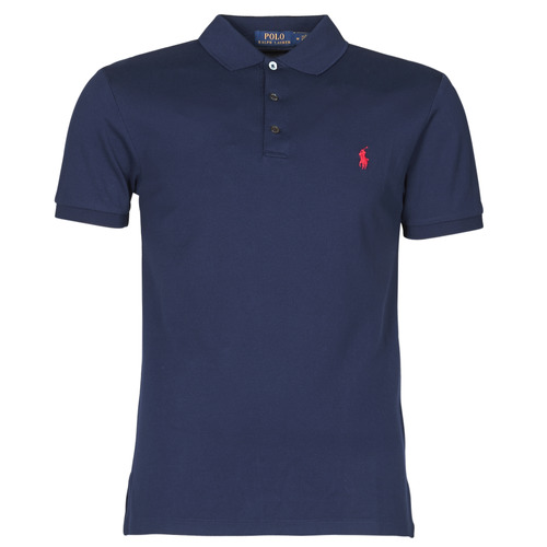Polo Ralph Lauren Polo Cintre Slim Fit En Coton Stretch Mesh Logo Pony Player Marine Fast Delivery Spartoo Europe Material Short Sleeved Polo Shirts Men 119 00