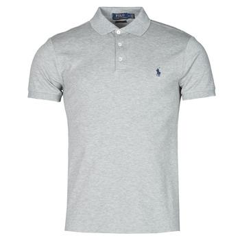 material Men short-sleeved polo shirts Polo Ralph Lauren POLO CINTRE SLIM FIT EN COTON STRETCH MESH LOGO PONY PLAYER Grey