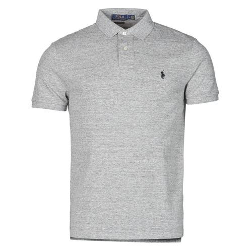 material Men short-sleeved polo shirts Polo Ralph Lauren POLO AJUSTE DROIT EN COTON BASIC MESH LOGO PONY PLAYER Grey