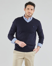 material Men jumpers Polo Ralph Lauren PULL COL V AJUSTE EN COTON PIMA LOGO PONY PLAYER Marine