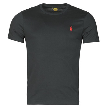 material Men short-sleeved t-shirts Polo Ralph Lauren T-SHIRT AJUSTE COL ROND EN COTON LOGO PONY PLAYER Black