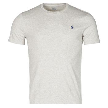 material Men short-sleeved t-shirts Polo Ralph Lauren T-SHIRT AJUSTE COL ROND EN COTON LOGO PONY PLAYER Grey