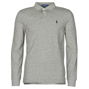 material Men long-sleeved polo shirts Polo Ralph Lauren POLO AJUSTE DROIT EN COTON BASIC MESH LOGO PONY PLAYER Grey