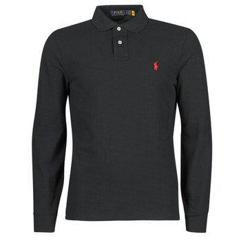material Men long-sleeved polo shirts Polo Ralph Lauren POLO AJUSTE DROIT EN COTON BASIC MESH LOGO PONY PLAYER Black