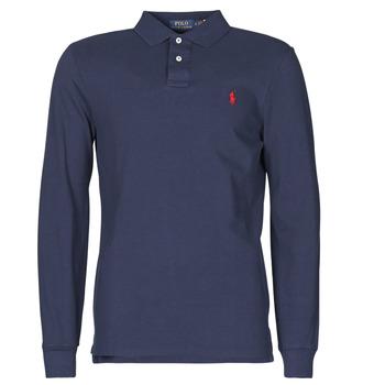 material Men long-sleeved polo shirts Polo Ralph Lauren POLO AJUSTE DROIT EN COTON BASIC MESH LOGO PONY PLAYER Marine