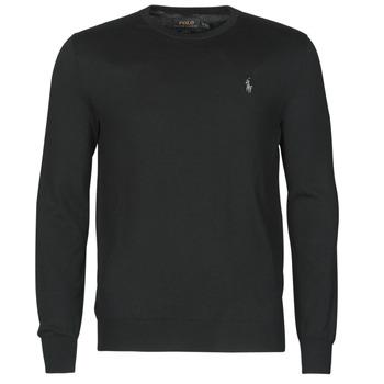 material Men jumpers Polo Ralph Lauren PULL COL ROND AJUSTE EN COTON PIMA LOGO PONY PLAYER Black