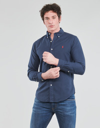 material Men long-sleeved shirts Polo Ralph Lauren CHEMISE CINTREE SLIM FIT EN OXFORD LEGER TYPE CHINO COL BOUTONNE Marine