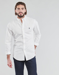 material Men long-sleeved shirts Polo Ralph Lauren CHEMISE CINTREE SLIM FIT EN OXFORD LEGER TYPE CHINO COL BOUTONNE White