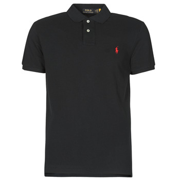 material Men short-sleeved polo shirts Polo Ralph Lauren POLO AJUSTE DROIT EN COTON BASIC MESH LOGO PONY PLAYER Black
